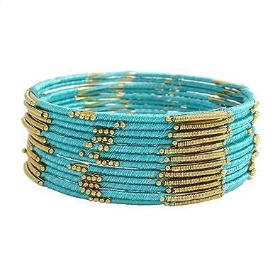 2ebfce386a53 Banithani pulseras de hilo envuelto i dorado indio regalo de joyería de  moda para ella sz 2   4  Amazon.es  Joyería