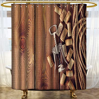 Analisahome Mildew Resistant Fabric Shower Curtains Wine Corks And Corkscrew Over Rustic Wooden Table Background Top