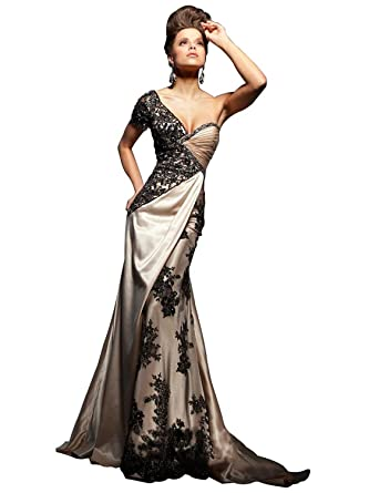 Amazon.com: ALfany Womens Embroidery One-Shoulder Long Satin Sexy Mermaid Evening prom Dress: Clothing
