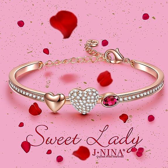 Amazon.com: J.NINA Sweet Lady Heart Bangle Crystals from Swarovski ...