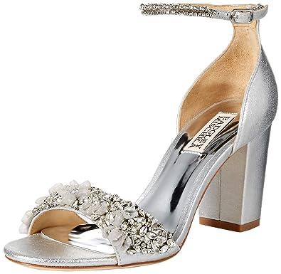 22c0997c9 Badgley Mischka Women's Finesse II Heeled Sandal, Silver/Metallic Suede, ...