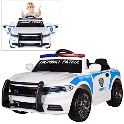Modern-Depo 12V Highway Patrol Police Ride On Car for Kids with 2.4G Remote Control, Siren Flashing Light, Intercom, Bumper Guard, Openable Doors: Toys & Games