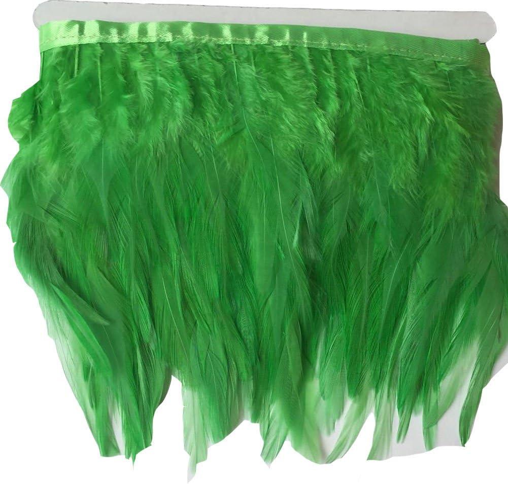 Colorful KOLIGHT Pack of 5 Yards Natural Rooster Hackle Feather Trim Fringe 4-6 in Width DIY Decoration