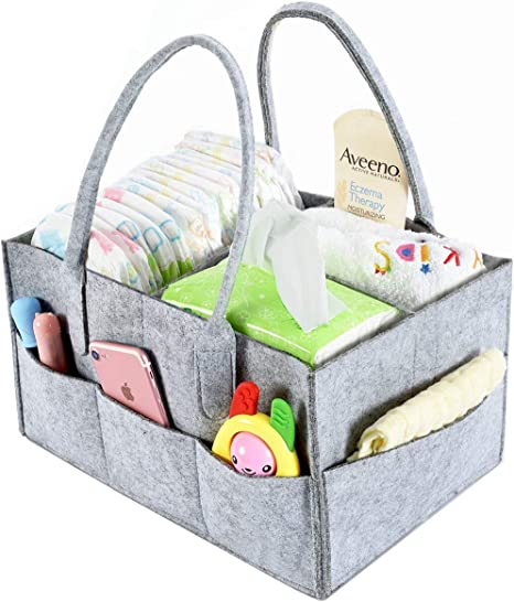 EJY Baby Diaper Organizer Foldable Felt Storage Bag Portable Lightly Multifunction Changeable Compartments for Mom Newborn Kids Nappies