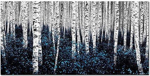 Amazon Com Sea Charm Birch Tree Wall Art Blue Abstract Forest