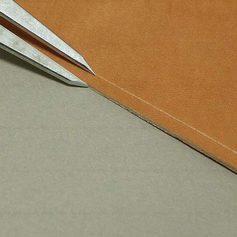 SALAKA Medidor de espaciado de Cuero 1PC 14.5cm Herramienta de artesan/ía de Cuero giratoria Divisor de ala de Metal Espaciador Br/újula Creaser