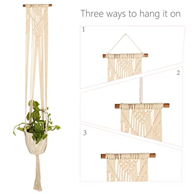 RAJRANG BRINGING RAJASTHAN TO YOU Boho Macrame Hanging Planter - 50.5 inches Long Handmade Woven Wall Tapestry Indoor Outdoor Cotton Cord Flower Pot Holder: Garden & Outdoor