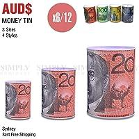 Money Tin Australian Box Jar Piggy Bank Coin 10 20 50 100 Dollar Notes OZ Large