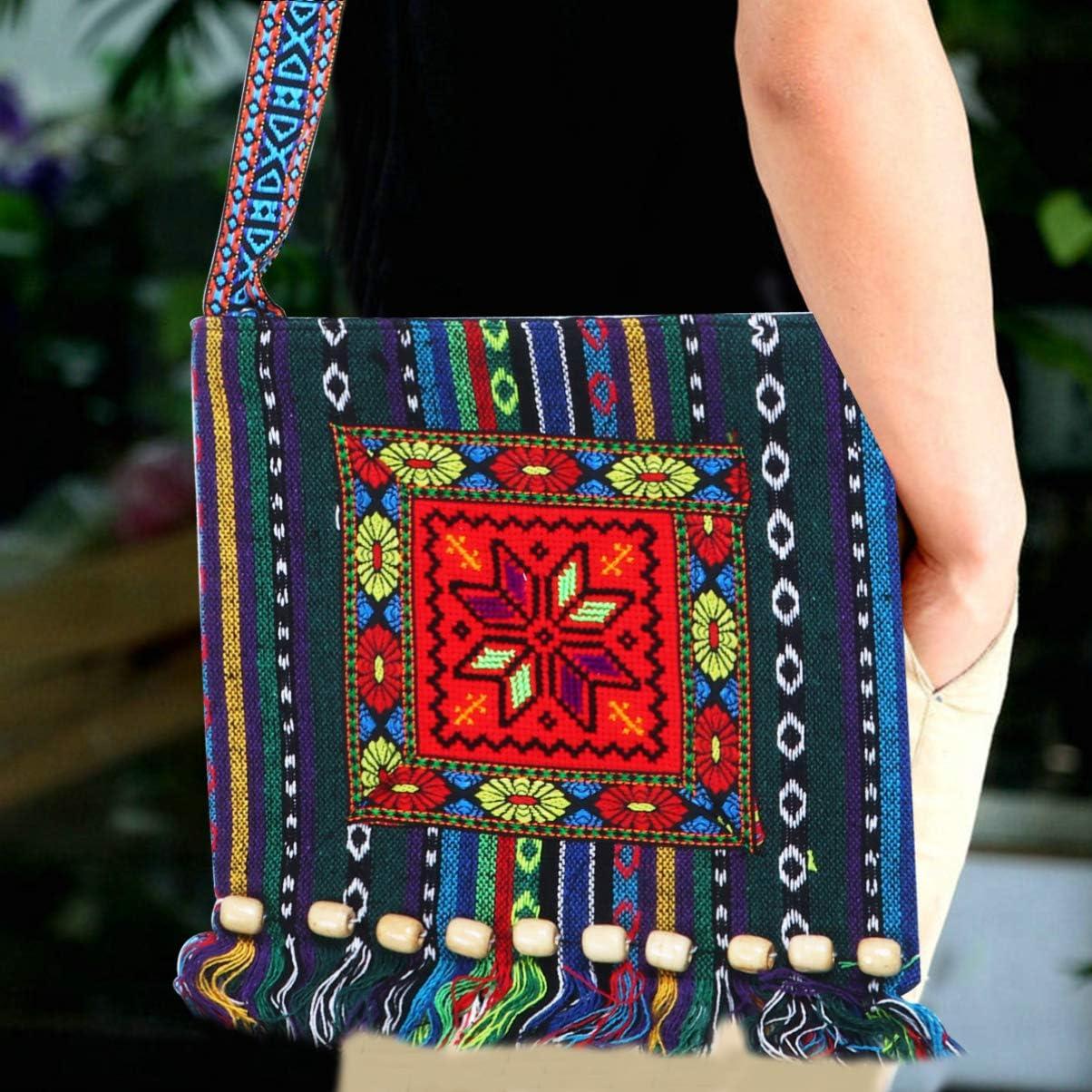 camelia TENDYCOCO borsa a tracolla boho hippie vintage tracolla con nappe ricamata tribale etnica vintage per donne ragazze