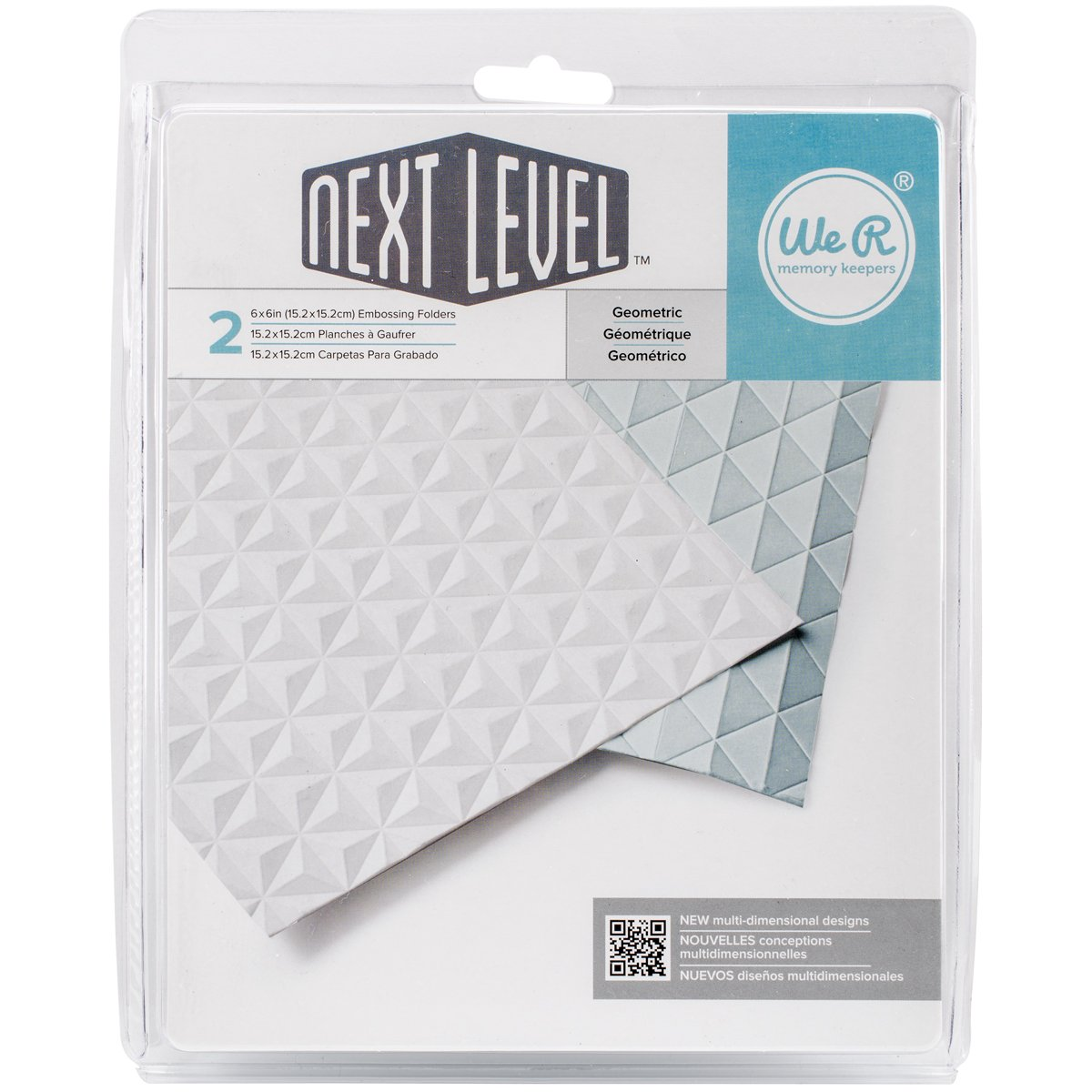 American Crafts Next Level Geometric Embossing Folder 2-Pack by We R Memory Keepers | Includes two 6 x 6-inch embossing folders in different geometric patterns