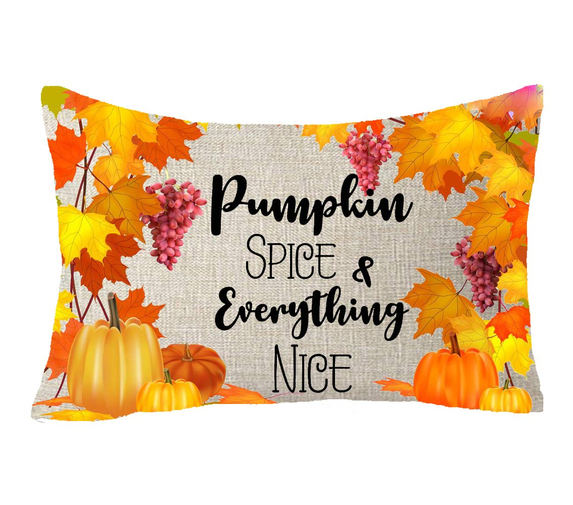 Thanksgiving family friends gifts give thanks Fruits Leaves wreath Throw Pillow Cover Cushion Case Cotton Linen Material Decorative 12x20