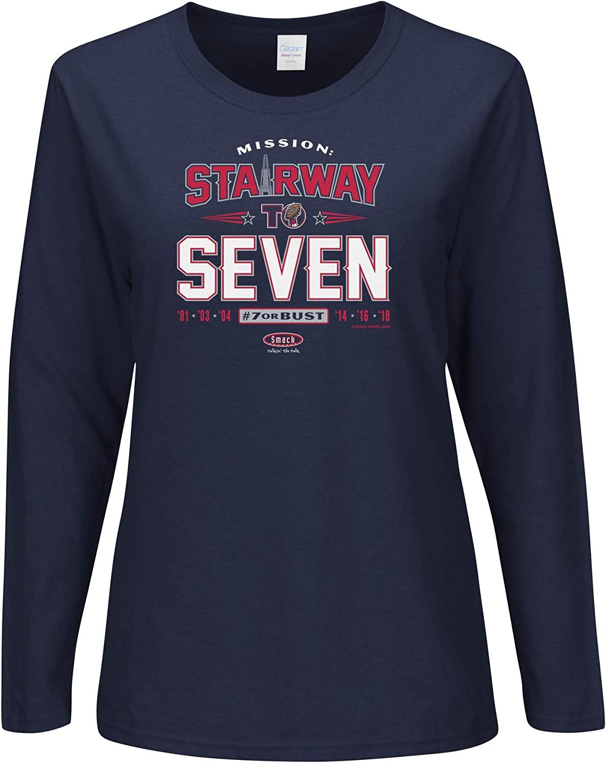 Navy Ladies T-Shirt Sm-2X Smack Apparel New England Football Fans Stairway to Seven