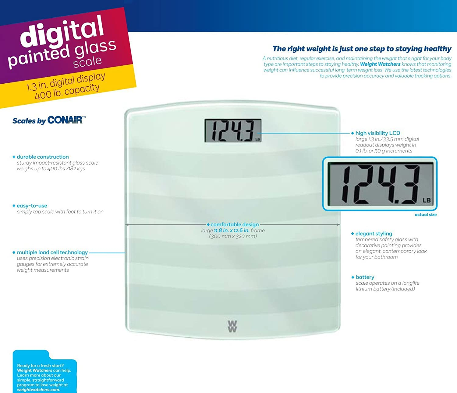 Amazon weight watchers scales by conair digital painted glass amazon weight watchers scales by conair digital painted glass scale white health personal care nvjuhfo Images