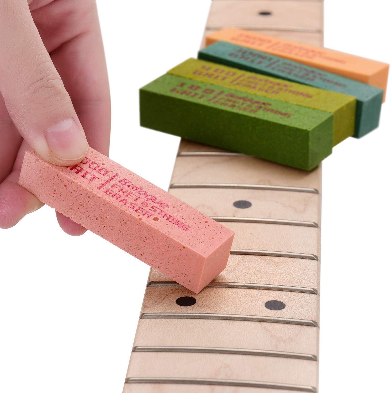 Lepeuxi Gommes /à polir les frettes de guitare Blocs de caoutchouc abraisifs avec grain 180 et grain 400 et grain 1000 et grain 1500 et grain 2000 pour le polissage des cordes de guitare