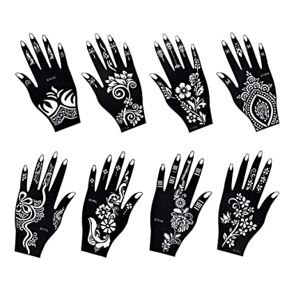 Plantillas para tatuajes Henna (8 hojas), autoadhesivas, hermosas plantillas de arte corporal