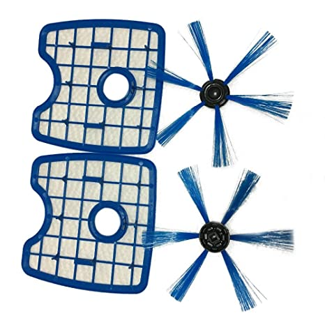 TOOGOO para aspiradora 2 Pantallas de Filtro + 2 cepillos Redondos para Philips Robot FC8820 FC8810