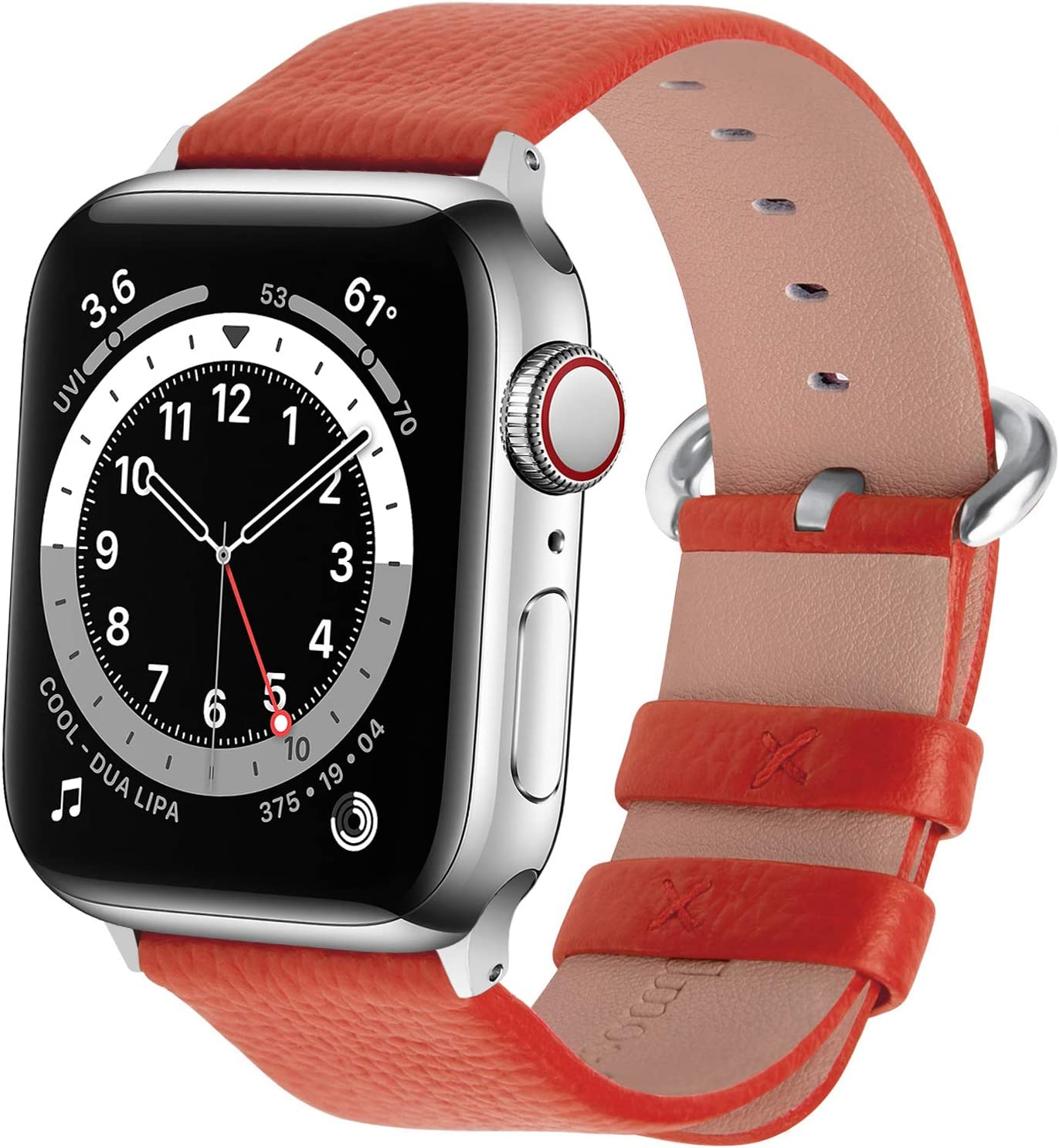 Fullmosa Compatible Apple Watch Band 38mm 40mm 42mm 44mm Calf Leather Compatible iWatch Band/Strap Compatible Apple Watch Series SE/6 Series 5 Series 4 Series 3 Series 2 Series 1,38mm 40mm Orange