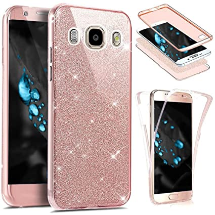 JAWSEU Funda 360 Grados Compatible con Samsung Galaxy J7 2016 Bling Glitter Brillante Brillo Transparente Integral Delantera y Trasera Suave TPU ...