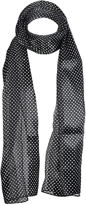 Women Polka Dot and Floral Combi Printed Neck and Head Scarf Long Scarves