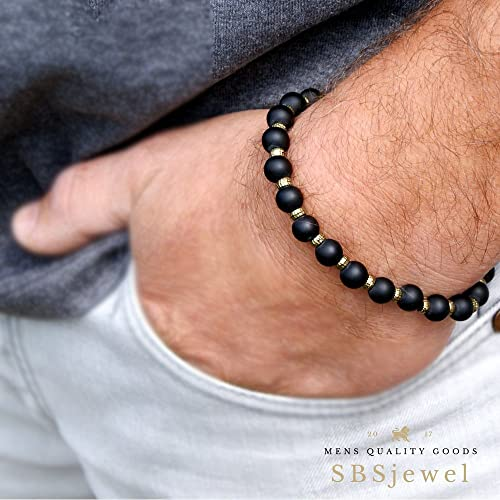 striped dark oxidized night sterling matte men black silver onyx shiny mens pin dude masculine beaded s bracelet in