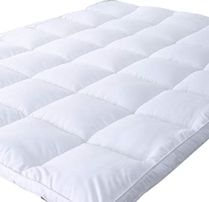 thick mattress topper. Naluka Mattress Topper Queen Size, Down Alternative Overfilled White Pillow  Top Cover Plush Hypoallergenic Thick Mattress Topper
