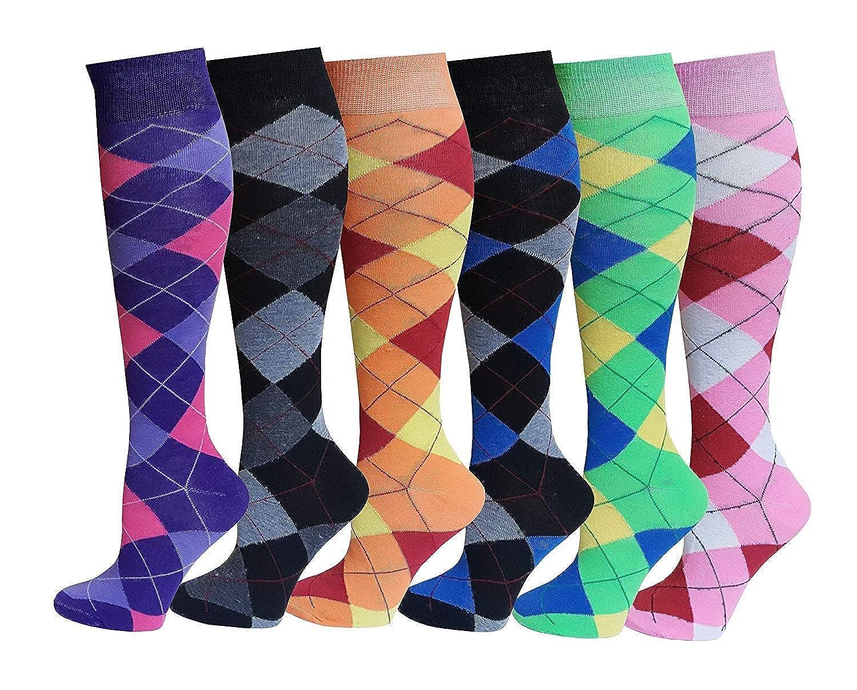 Women/'S Ladies High Knee Socks Horse Argyle Rich Cotton Equestrian Riding Socks
