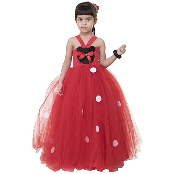 6ebc7197b076 Samsara Couture Kids Minnie Mouse Red Net and Satin Girls Party Wear ...