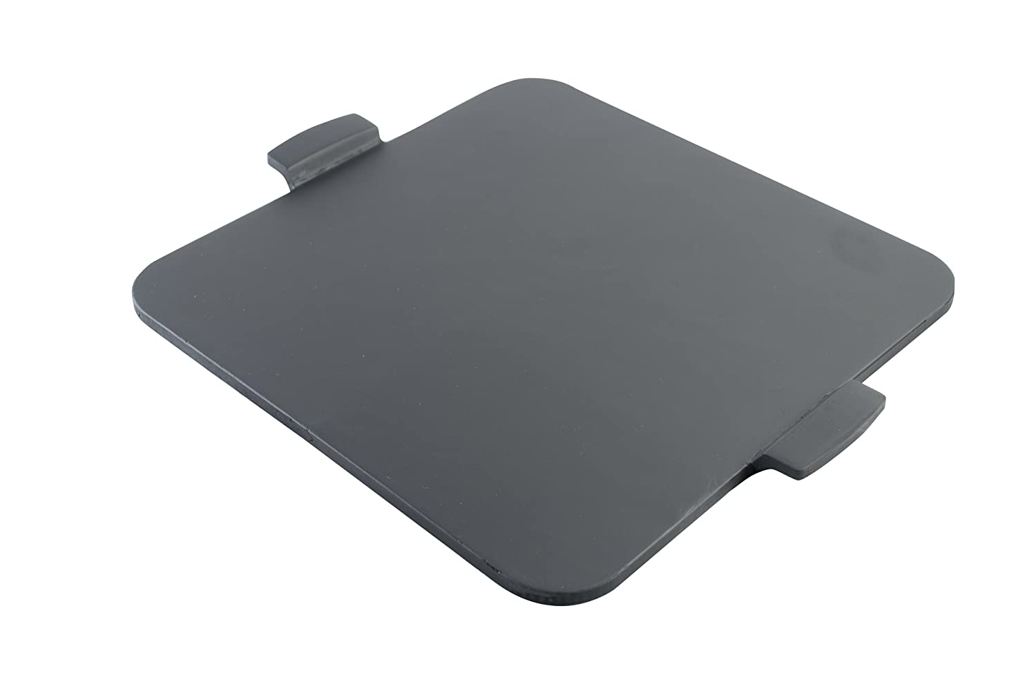"PizzaCraft 14.5"" Square Glazed Pizza Grilling Stone with Handles - PC0111 (Black), 14.5 14.5"