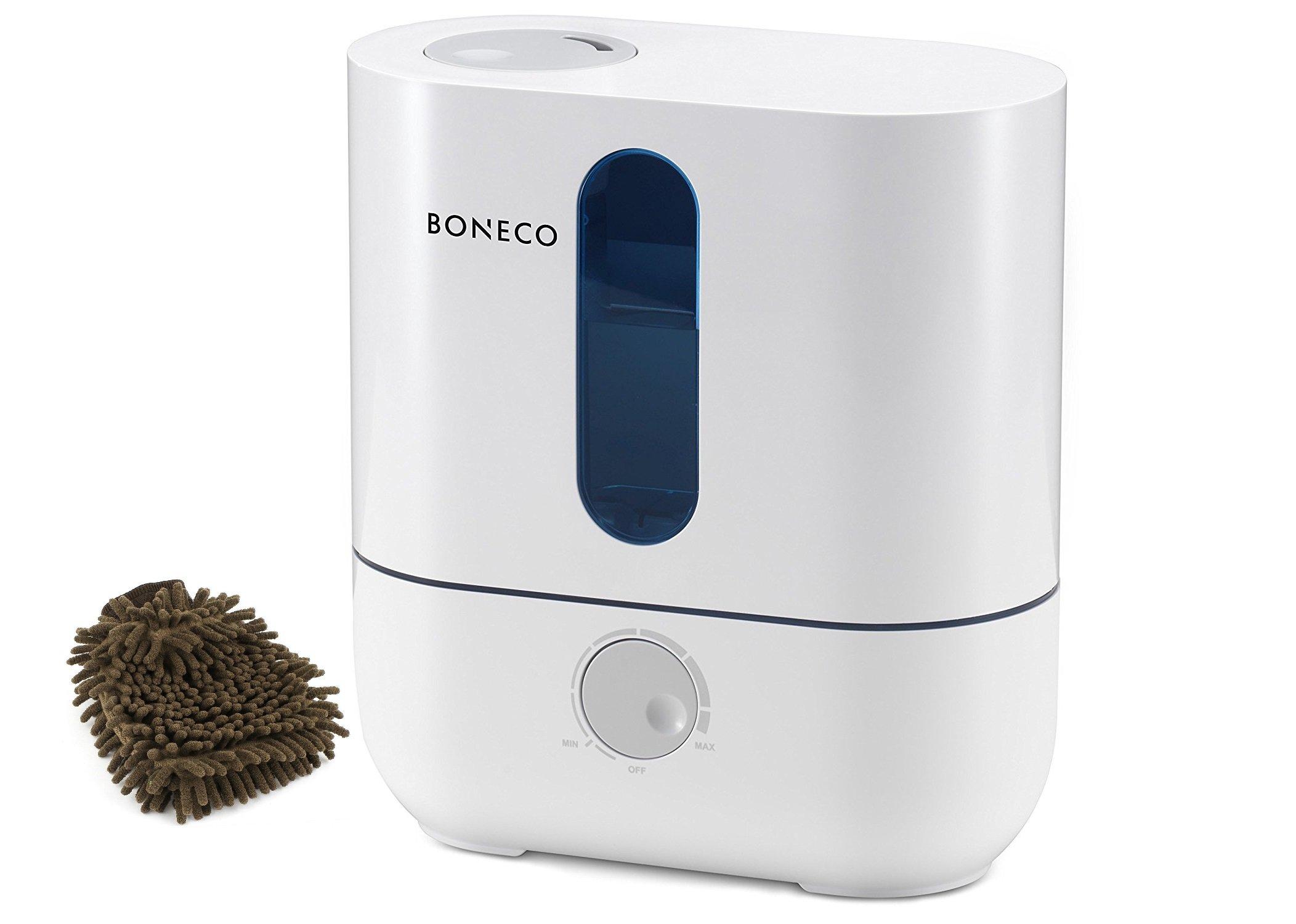 Boneco U200 Ultrasonic Humidifier, Cool Mist (Complete Set) w/ Bonus: Premium Microfiber Cleaner Bundle