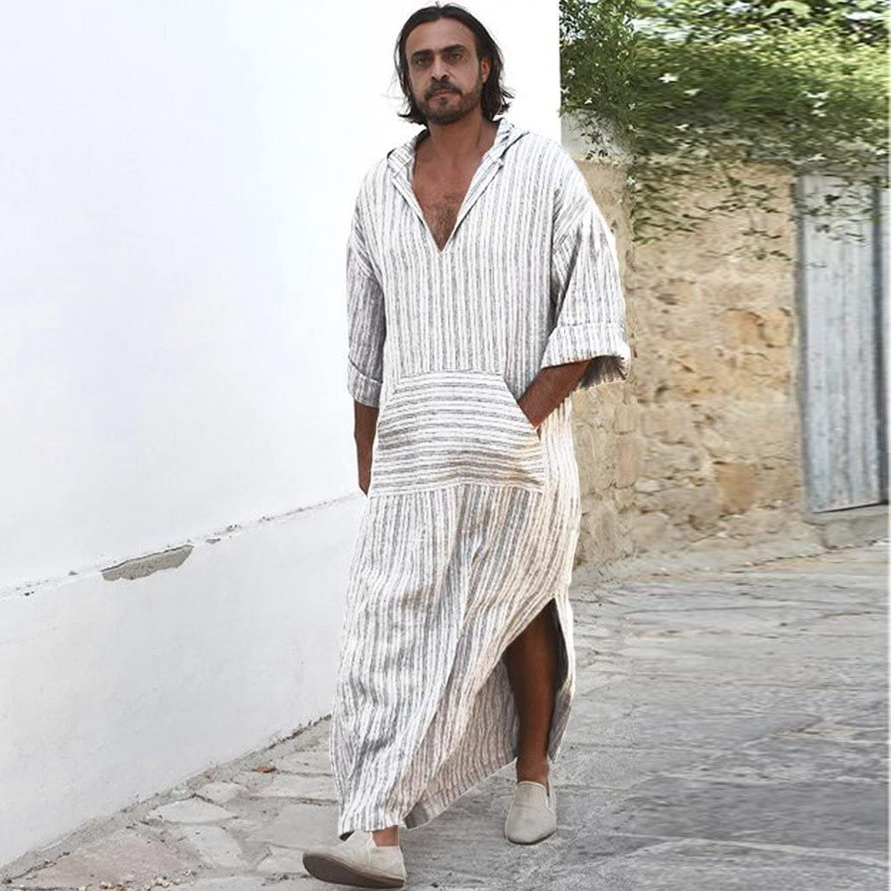 Robe R/étro YUYOUG Hommes Longue Chemises Coton Lin Ethnique Robes Loose Ray/é /à Manches Longues /à Capuche Vintage Robe Caftan