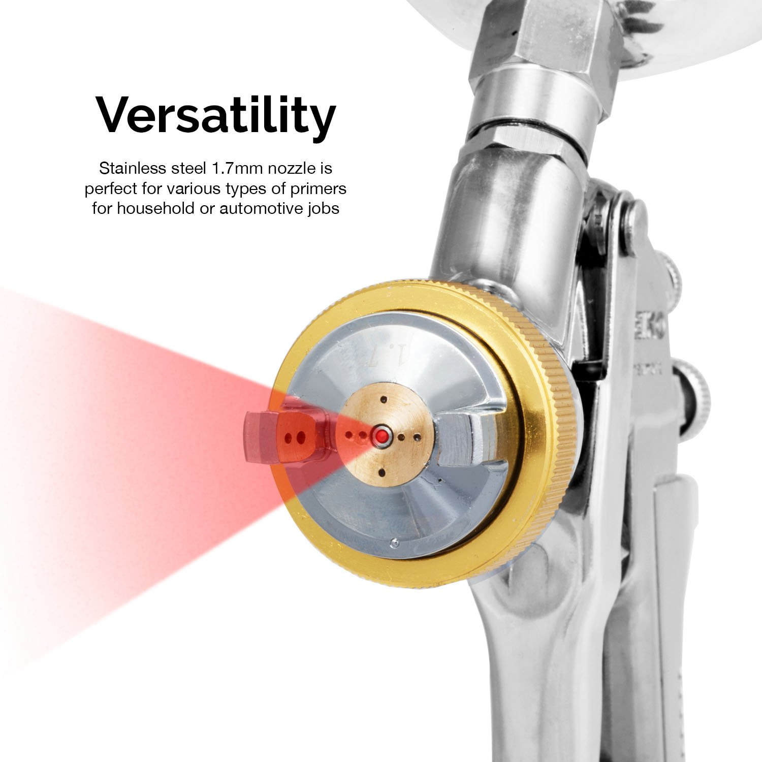 Neiko 31215A HVLP Gravity Feed Air Spray Gun | 1.7mm Nozzle Size | 600cc Aluminum Cup by Neiko (Image #4)