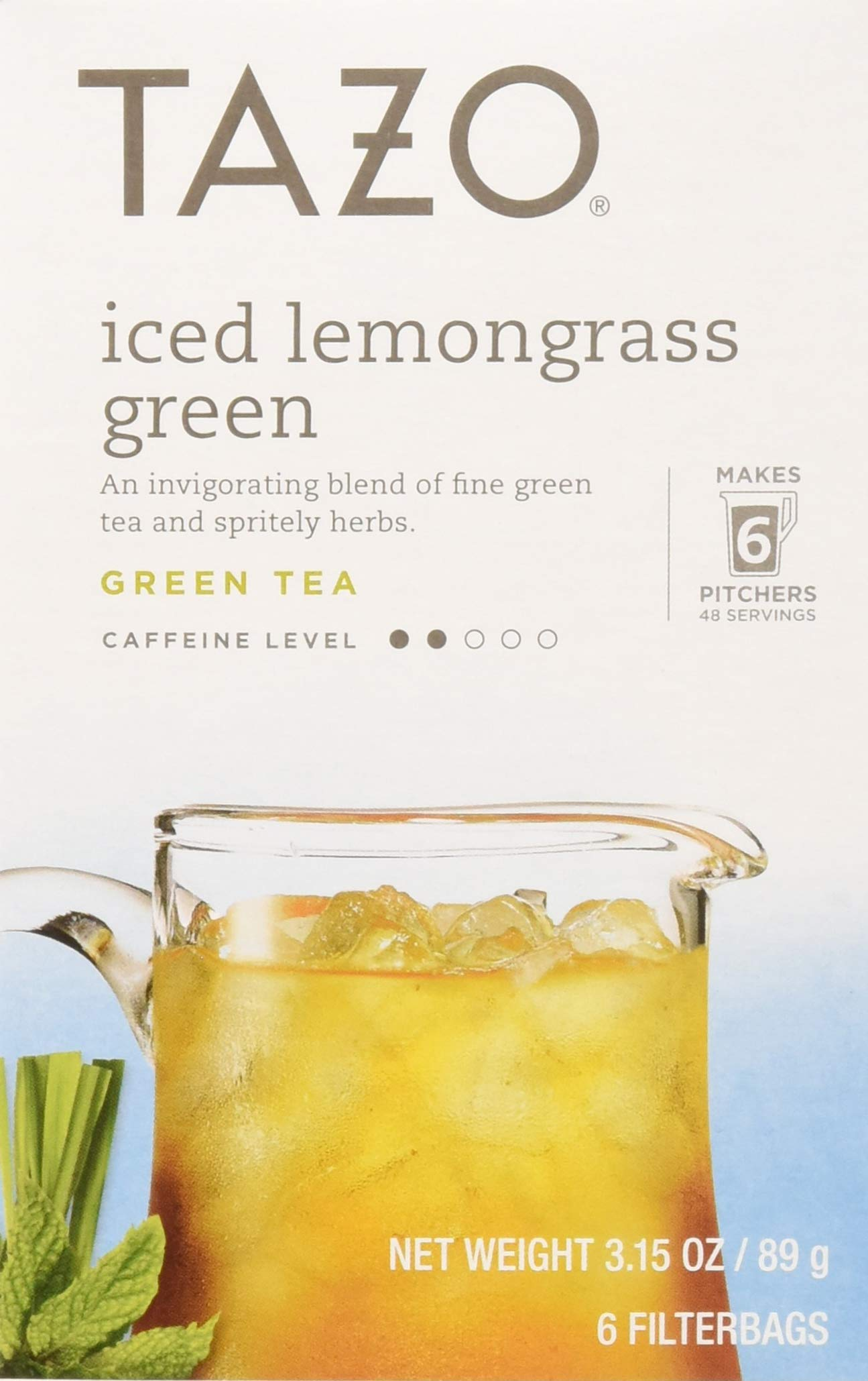 Tazo Tea Bag, Iced Lemongrass Green, 6 Count, Pack of 4 by TAZO