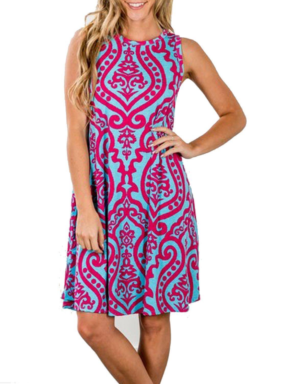 Tanst Swing Dress with Pockets, Women Mother's Day Gift Summer Sleeveless Damask Print Long T-Shirt Beautiful Boho Dress Rosy M