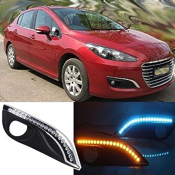dongzhen DRL conducción lámpara para Peugeot 308 12 - 15 azul lámpara intermitente DC12 V luz diurna 1 par: Amazon.es: Coche y moto