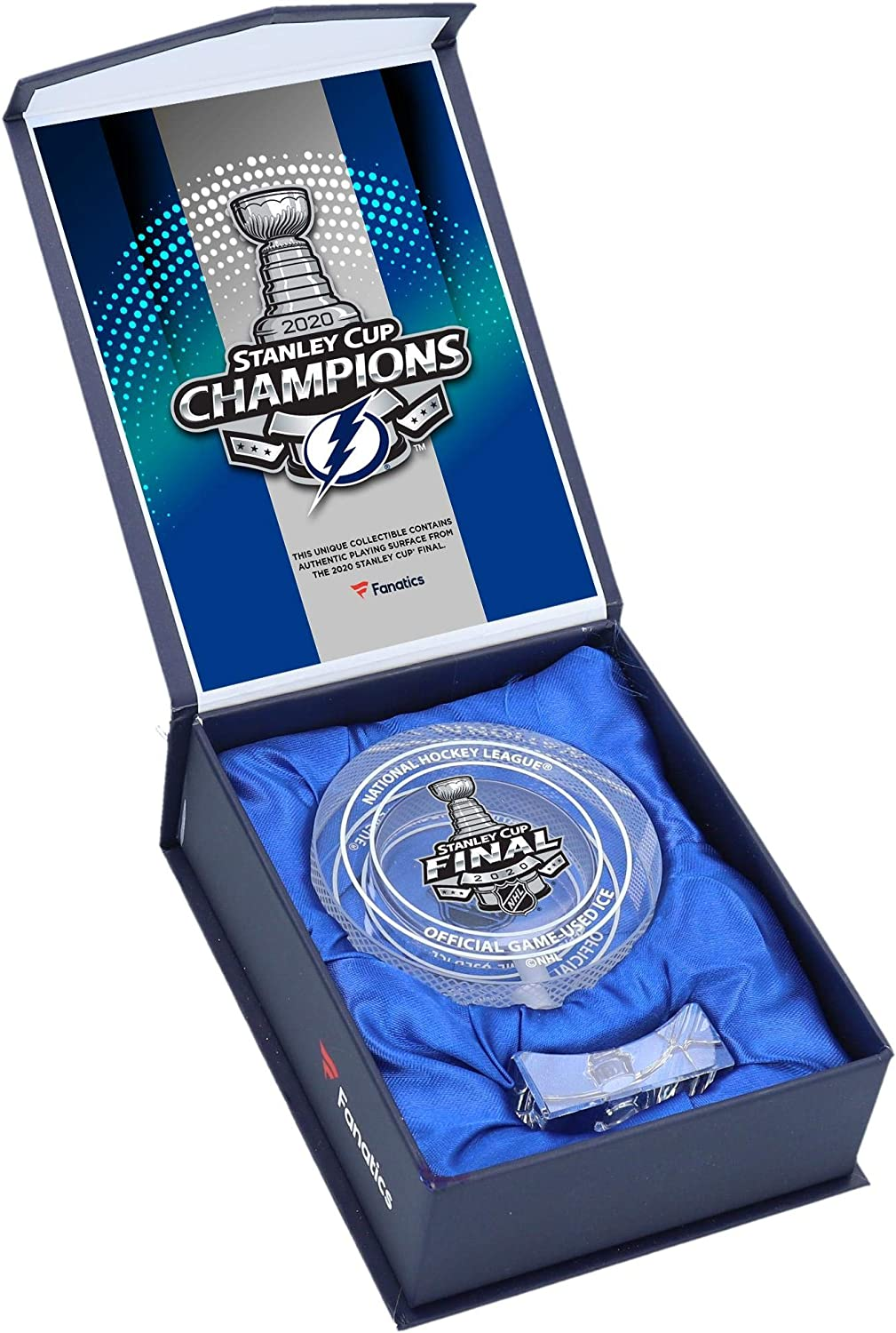 Tampa Bay Lightning 2020 Stanley Cup Champions Crystal Hockey Puck - Filled with Ice From the 2020 Stanley Cup Final - NHL Game Used Ice Collages