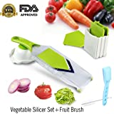 Keynice Mandoline Slicer, Vegetable Slicer,Vegetable Cutter,Cheese Slicer,Vegetable Julienne Slicer with Grade Stainless Steel Blades,1 Kitchen V Slicer+1 Vegetable Brush+1 clean brush, 4-Blade Slicer