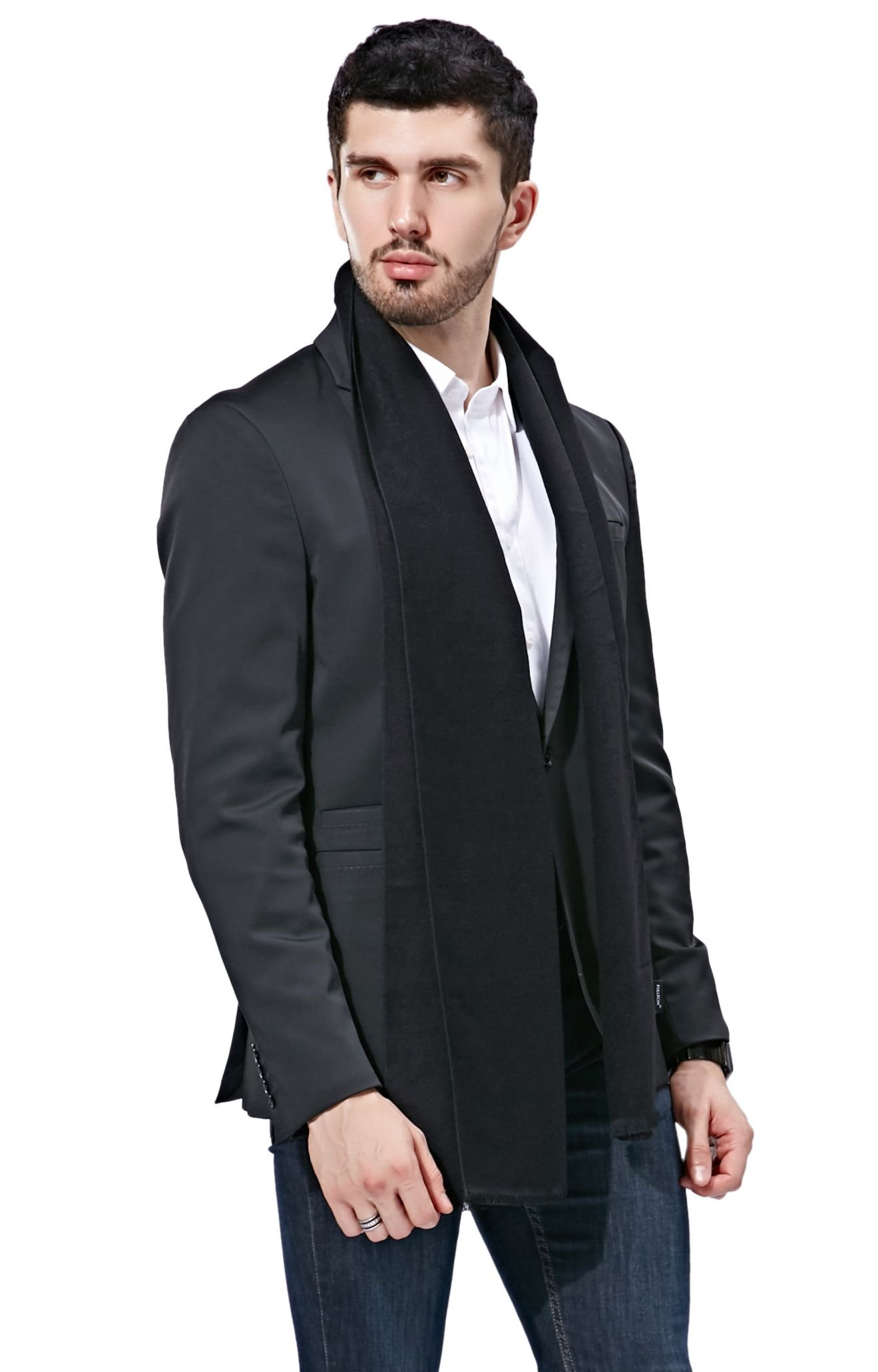 FULLRON Men Cashmere Scarf Long Warm Scarves, Black Scarf for Fall & Winter