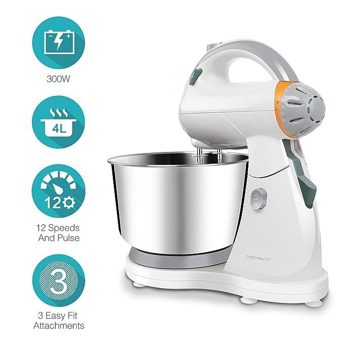 Aigostar Sourdough 30HLZ - Robot de cocina 2 en 1: robot de sobremesa multifunción y batidora de mano, 300W. 4L. Accesorios incluídos, 12 velocidades: amasa ...
