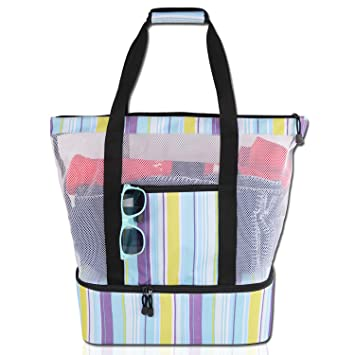 e4d1ad1b0811 Mesh Beach Tote Bag with Insulated Cooler Compartment, Extra Large Pool  Picnic Cooler Bag with Zipper Closure, Top Handle Beach Handbag for Women  ...