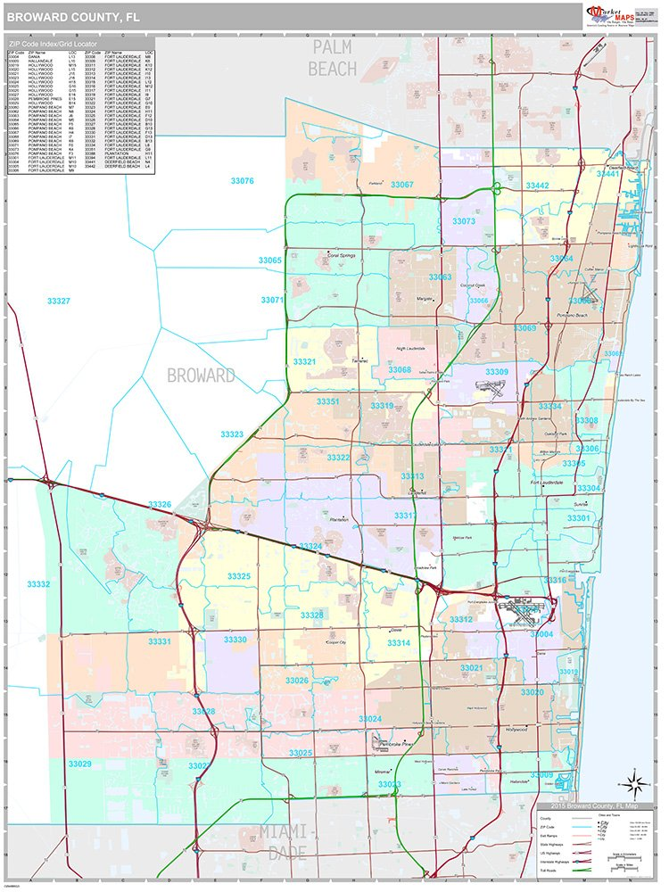 Broward County, FL Wall Map (Premium Style, Laminated, 48x64 inches)