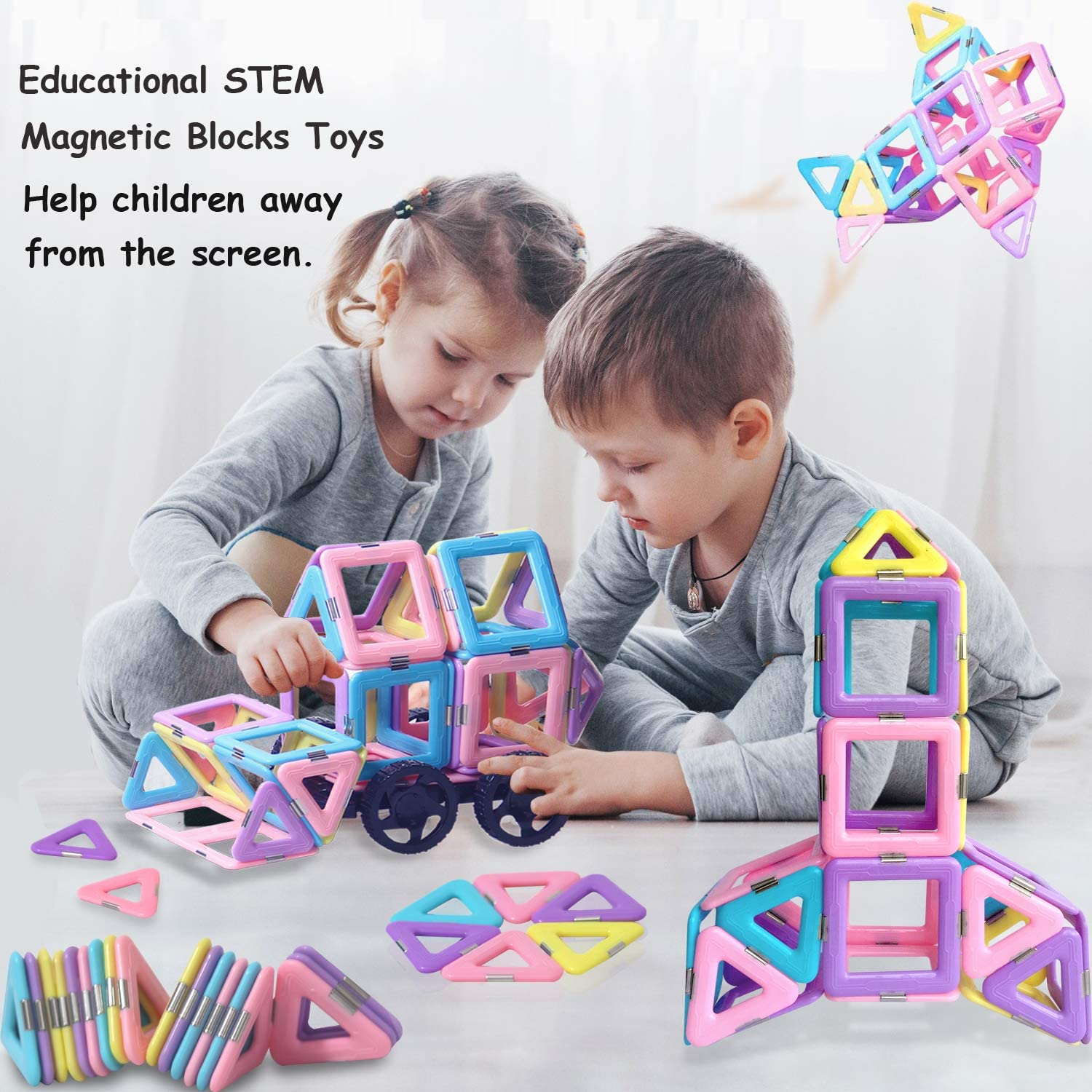 49PCS Castle Magnetic Building Blocks Magnetic Tiles Educational Stem Toys for Kids Toddlers Creative Learning /& Development Construction Set Gifts for Girls Boys Age 2 3 4 5 6 7 Year Old