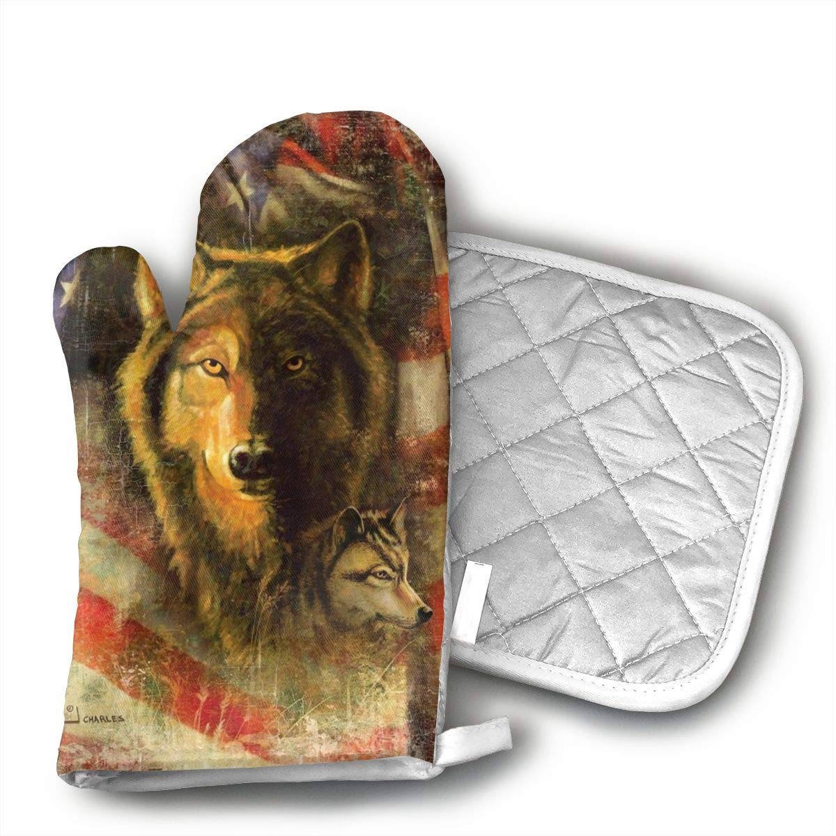 Wiqo9 Wolf and Patriotic American Flag Oven Mitts and Pot Holders Kitchen Mitten Cooking Gloves,Cooking, Baking, BBQ.