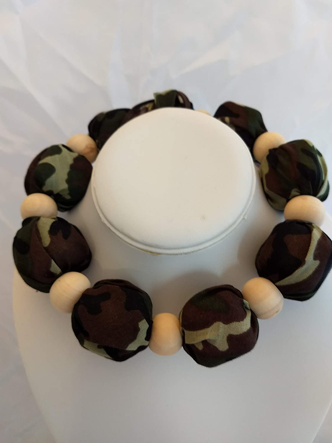 Ice Cold Cooling Scarf-CAMO with natural wood beads