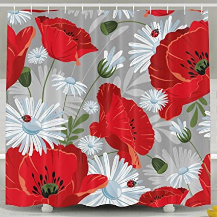 ManSanTuBaZhu Bright Red And White Colour Flower Unique Waterproof Bath Shower CurtainPolyester Fabric Bathroom