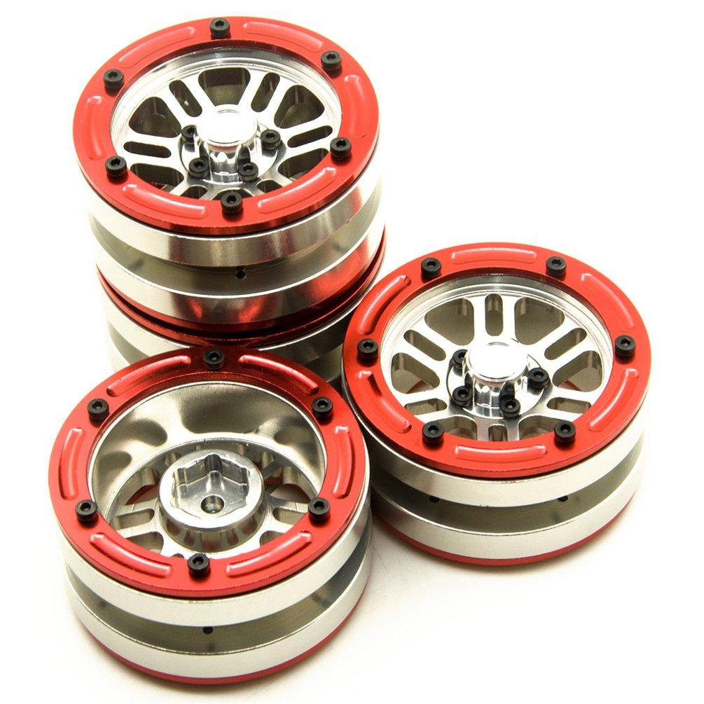 MOHERO 1.9'' Alloy Beadlock Wheel Rims Set for for RC 1/10 Crawler SCX10 CC01 RC4WD Pack of 4