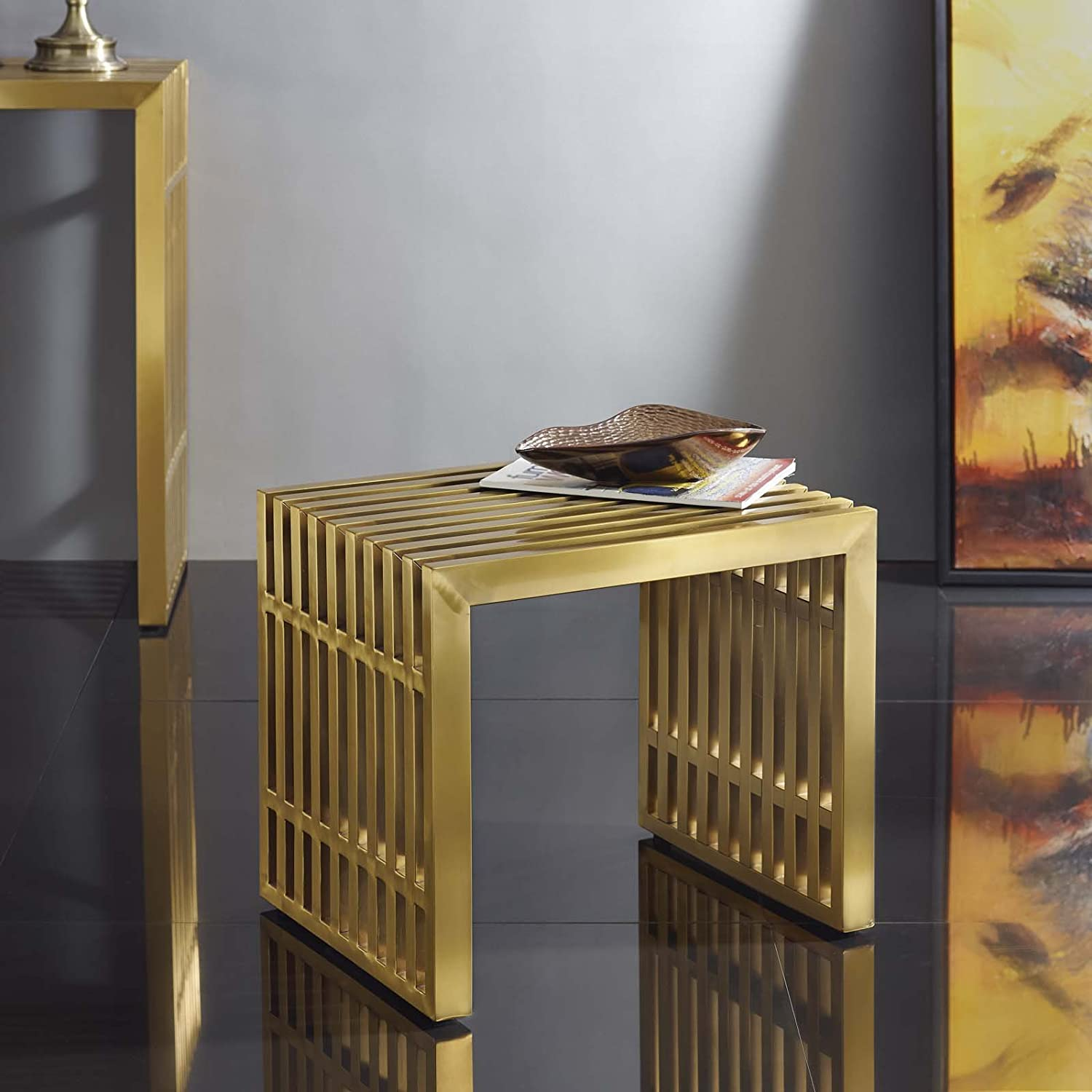 Modway EEI-2993-GLD Gridiron Small Stainless Steel Bench, Gold