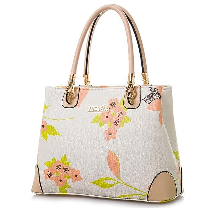 Womens Vintage Shoulder Bag All-over Flowers Pu Leather Tote Purse Cross  Body Handbag (Beige)  Handbags  Amazon.com c65b1d3a4fc3e