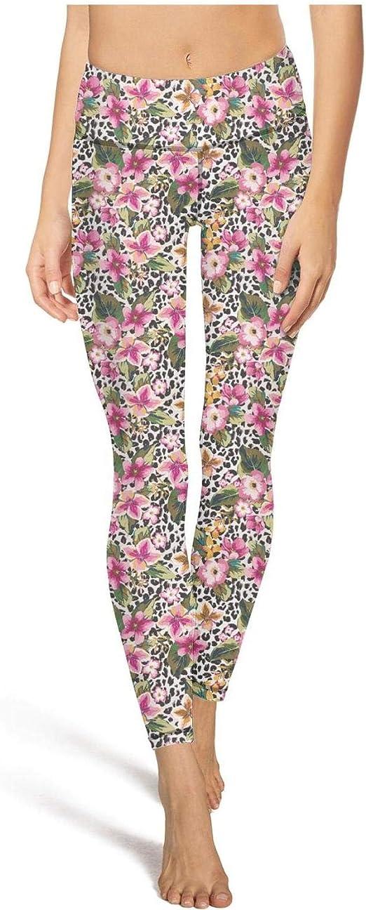 Lady Yoga Pants Flamingos Texture of Pink Light Long Yoga Pants Yoga Leggings with Pockets