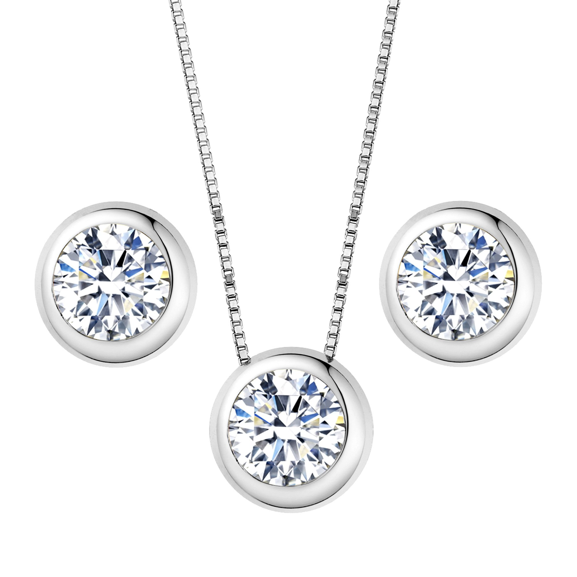 EleQueen 925 Sterling Silver 0.7 Carat Solitaire Round CZ Bridal Necklace Earrings Jewelry Set