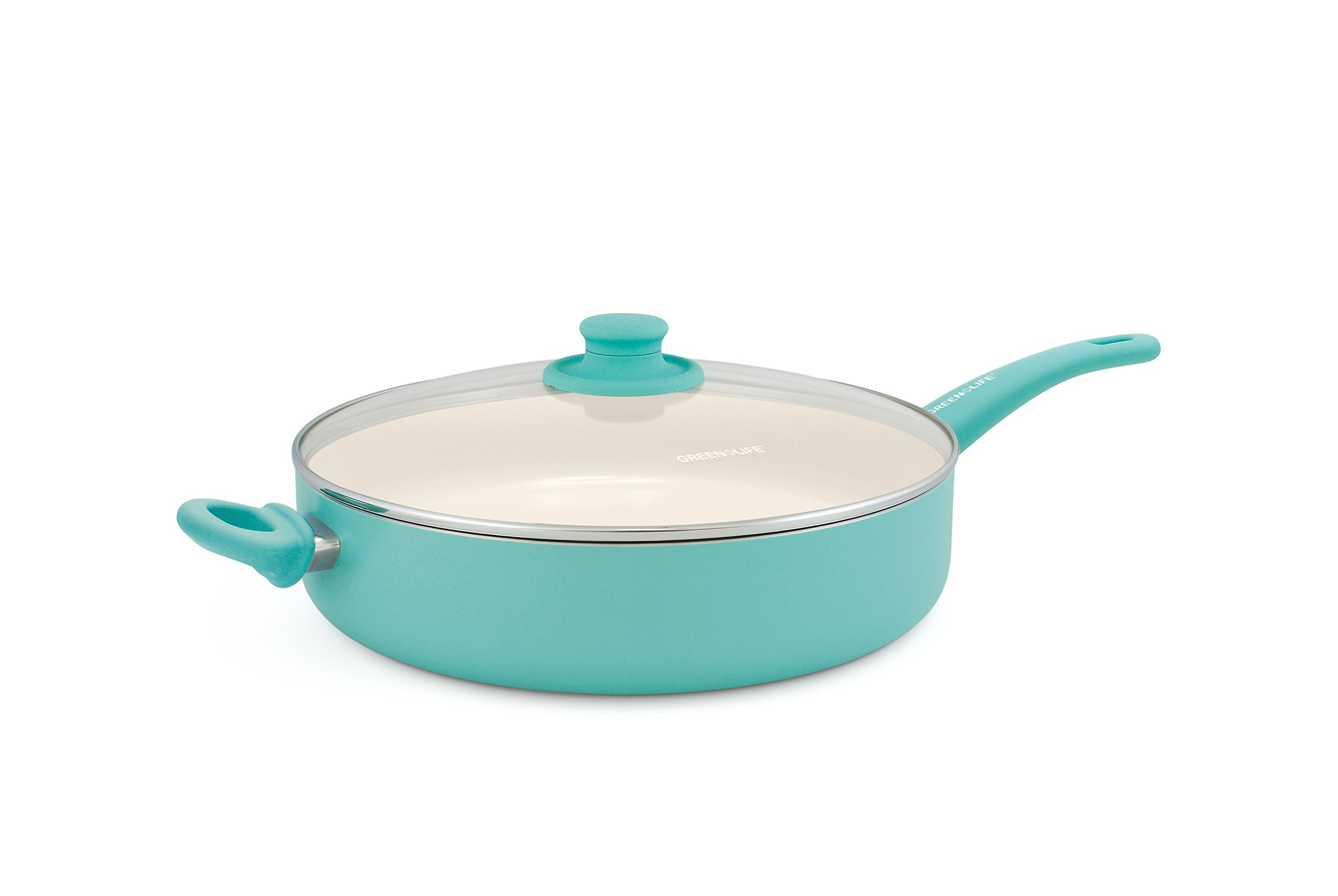 GreenLife Soft Grip 12'' Ceramic Non-Stick Covered Jumbo Sauté Pan, Turquoise